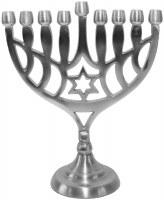"Pewter Menorah Designed with Star of David 8.5"""