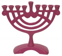 Candle Menorah Aluminum Pink Creative Rounded Design 6""