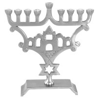 Candle Menorah Aluminium with Pewter Finish Jerusalem Design #MN11646