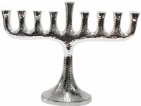 Candle Menorah Aluminium Hammered Finish
