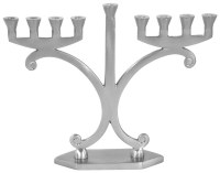 Candle Menorah Aluminium with Pewter Finish Modern Two Sided Design