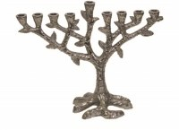 Aluminum Candle Menorah Tree Design Nickel Plated Finish 7""