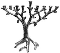 Candle Menorah Metal Aluminium Tree Design Plated with Nickel Finish