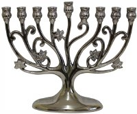 Menorah Aluminum Nickel Plated Tree Design 9""