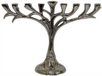 Menorah Aluminum Nickel Plated Vine Design 8""
