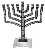 Candle Menorah Pewter Mother Of Pearl Knesset Style