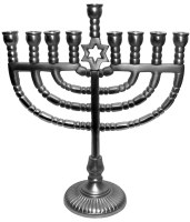 Candle Menorah Pewter Star of David
