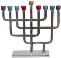 Candle Menorah Aluminum with Nickel Plated Finish and Colorful Cups 8.75""