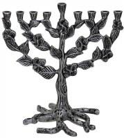"""Menorah Metal Silver Leaves Design 10"""""""