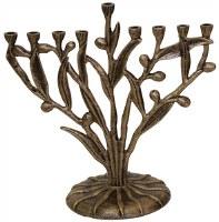 """Menorah Metal Silver Petals and Leaves Design 10"""""""