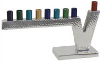 Candle Menorah Aluminum Hammered Design with Nickel Plated Finish and Colorful Cups 4.5""