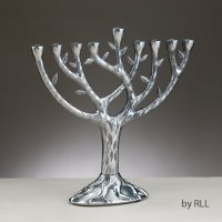 "Aluminum Candle Menorah Textured Tree of Life Design 10.75"""