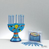 Ceramic Mini Menorah with Mini Candles