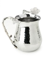 Classic Touch Wash Cup Hammered Stainless Steel - Silver Frangipani Flowers