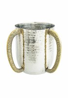 Wash Cup Hammered Stainless Steel Accentuated with Woven Style Textured Gold Handles