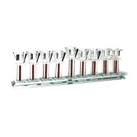 Oil Menorah Crystal Flat Strip with Crushed Glass Stems 14""