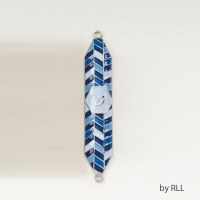 Enamel Mezuzah Blue with Geometric Designs 4""