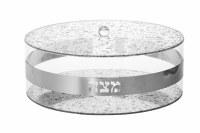 """Lucite Round Matzah Holder Silver Flakes Design 13.5"""""""