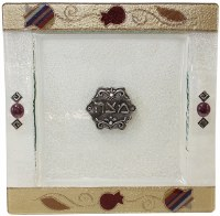 Matzah Tray Square - Purple Pomegranate