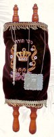 Sefer Torah with Velvet Cover Yad and Breast Plate Assorted Colors 13""