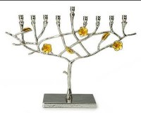 Candle Menorah Frangipani Nickel Sprinkled/Gold