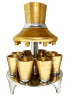 Metal Wine Fountain Kosel Design 8 Cup Gold 10""