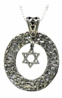 Silver Necklace With Hanging Magen David Pendant #NDN0185-300