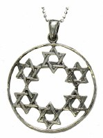 Silver Necklace With Hanging Magen David Pendant #NDN0186-300