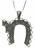 Silver Necklace With Large Chai Pendant #NDN0187-300