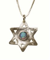 Silver Star Of David With Opal #NDN1131-304