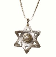 Silver Star Of David Necklace With Pearl #NDN1131