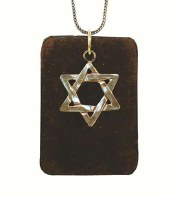 Silver Necklace with Star Of David On A Leather Pendant #NDN2032-300