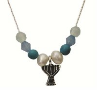 Silver Menora Necklace With Pearl, Ocean And Turquoise #NDN2773-313