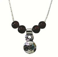 Silver Pomegranate Necklace With Garnet #NDN2776-302