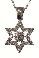 Silver Star Of David With Zircons #NDN5213-344