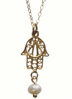 Gold Plated Hamsa Necklace With Pearl #NDN5601-820