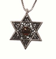 Silver Star Of David Necklace With Red Stone #NDN5611-302