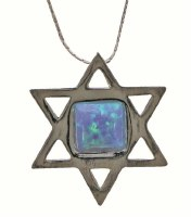 Silver Star Of David Necklace With Opal #NDN5612-304