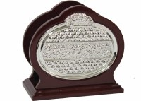 Napkin Holder Wood and Silver Plated with Diamond and Floral Design