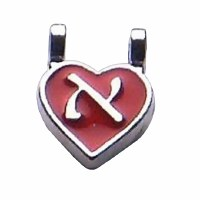 Name Necklace Individual Letter Red Heart 1 Letter Hebrew Alphabet