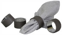 Napkin Rings Vinyl Set of 4 Grey Lightening Design