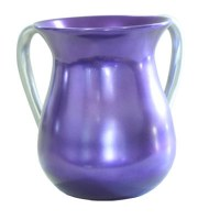 Yair Emanuel Aluminum Cast Wash Cup - Purple with Silver Handles