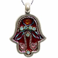 Necklace Hamsa Pewter Red Large