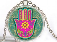 Necklace with Hamsa on Blue and Pink Photo Glass Pendant