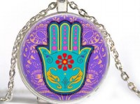 Necklace with Hamsa on Purple and Blue Photo Glass Pendant