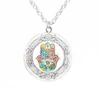 Necklace with Hamsa Silver Locket Pendant