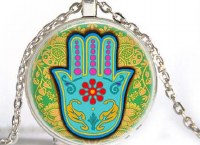 Necklace with Hamsa on Yellow and Blue Photo Glass Pendant