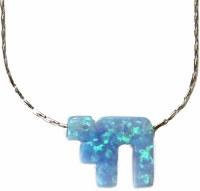Necklace Silver with Opal Blue Chai #MJJCHBL