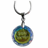 Necklace Shema Stone with Rhodium Chain