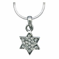 Necklace with Star of David Stones Silver